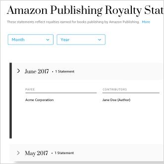 Royalty statement portal page